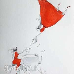 herbata razem smakuje lepiej obraz akwarelami i piórkiem artystki adriany laube