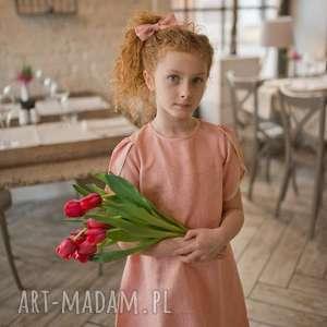 Sukienka Little Tulip, lnianasukienka, łososiowasukienka, sukienkaretro