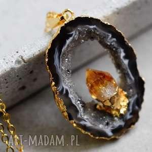 handmade naszyjniki agat & ametyst pozłacany naszyjnik