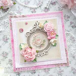 Kartka różana scrapbooking kartki made by kate róże, shabby chic