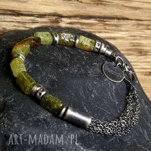 bransoletka srebrna z zielonym granatem grossular, granat zielony