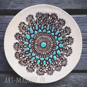 Prezent Ceramiczny talerzyk z faktura koronki, talerz, biżuteria, ozdoba,