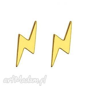 złote kolczyki pioruny - wkrętki, sztyfty, srebro modne