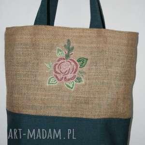 na ramię torba zakupy, juta, haft róża, torba, haft