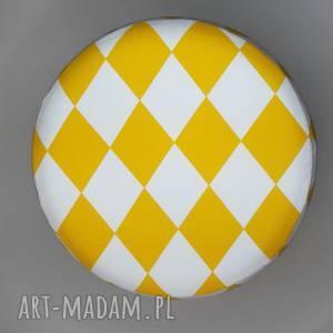 Pokrowiec na pufa - Żółty Arlekin, puf, taboret, vintage,
