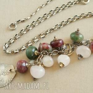 Naszyjnik ze srebra i turmalinu, kobiecy, delikatny, oksydowany, pastelowy