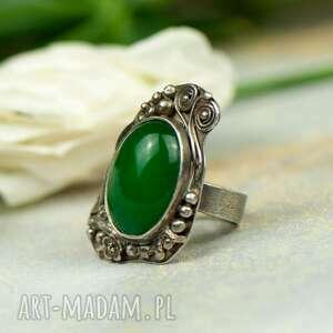 zielona bryza - pierścionek srebrny a566, zielony pierścionek