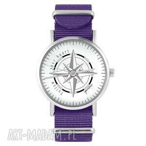 zegarek - kompas fioletowy, nylonowy, zegarek, nylonowy pasek, typu nato