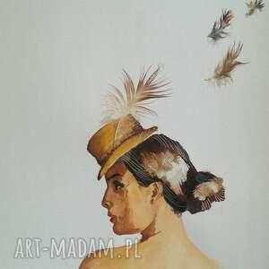 ulotne piękno - akwarela z piórami a4 - brązowe obrazy, odlatujące pióra