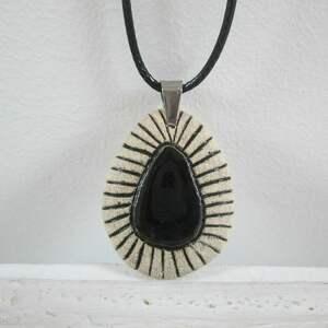 Naszyjnik z czarnym oczkiem, ceramiczny, naszyjnik, etniczny, czarny, etno
