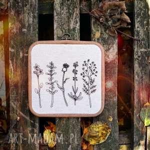 obrazek haftowany botanica blooms - ,obrazek,vintage,haft,zioła,kwiaty,len,