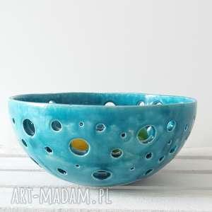 ażurowa turkusowa maxi misa, dekoracyjna, na-owoce, ceramiczna, duża, artystyczna