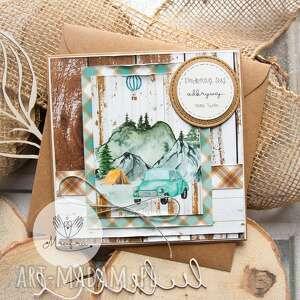 mrufru kartka z podróżą w tle, kopercie ekologicznej personalizacja treści