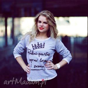 bluzki szara fajna modna bluza surowa z nadrukiem bawełniana, bluzka