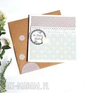 kartka ślubna mint grey handmade, ślub