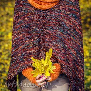 ręcznie robione poncho kolorowe ponczo