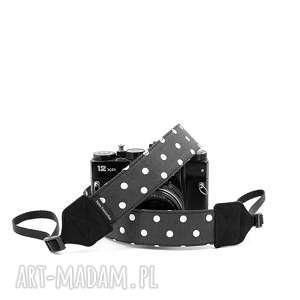 RekaProduction - wąski pasek do aparatu fotograficznego czarny w białe grochy fotografia, aparat