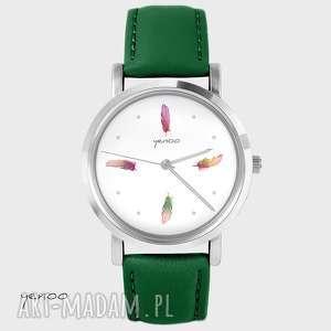 Prezent Zegarek - Kolorowe piórka skórzany, zielony, zegarek, bransoletka, skórzany