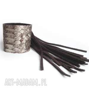 handmade bransoleta skórzana czekoladowa wąż fringe boho