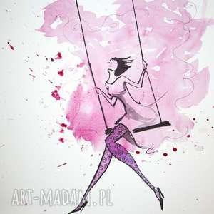 LEKKOŚĆ CHWILI akwarela artystki plastyka Adriany Laube, akwarela, rajstopy