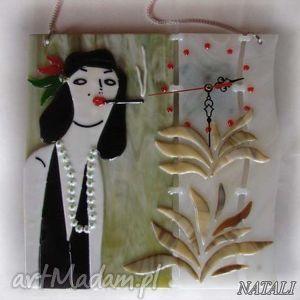 artystyczna kompozycja ze szkła - zegar dama z papierosem, szklo, zegapy, dom, fusing