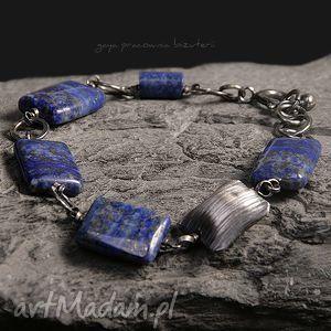 bransoletki lapis lazuli z poduszką, lapis, lazuli, srebro, oksydowane, kute