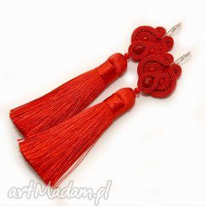 kolczyki czerwone klipsy sutasz, sznurek, eleganckie, wieczorowe, soutache