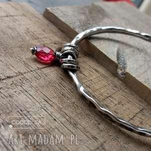 cocopunk srebro i kwarc rózowy - bransoletka okrągła z - srebrna bransoletka