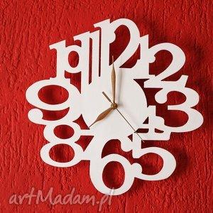 Zegar drewniany biały, zegar, drewno, sklejka, lakierowany, ącienny