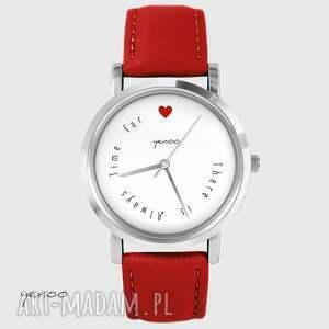 zegarek - there is always time for love czerwony, skórzany