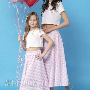 handmade spódnice komplet spódnic z tkaniny bawełnianej, model 35, biało - różowy