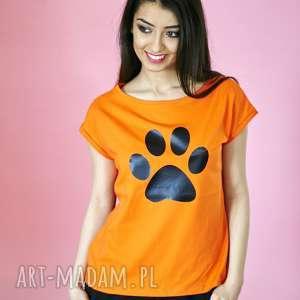 t-shirt bawełniany pomarańczowy z łapką koszulka rozmiary s-xl, bawełna, eko, motyw