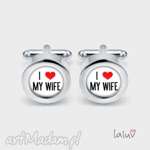 Ślubne spinki do mankietów LOVE MY WIFE, ślub, wesele, miłość, żona, koszula, serce