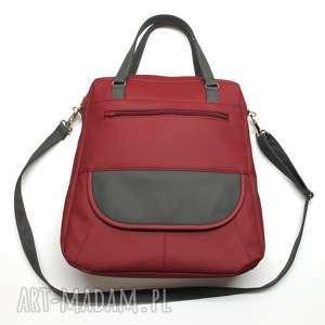 torebka listonoszka - bordo i dodatki ciemne szare, elegancka, nowoczesna