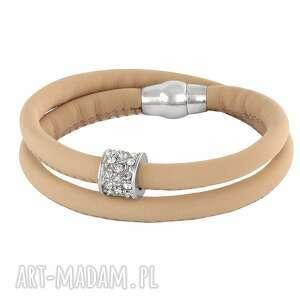 nude eco leather with zircons bead , cyrkonia, rzemień, magnes biżuteria