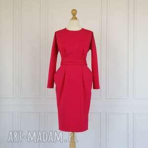Ida sukienka z kieszeniami, fuksja, rozmiar 34 sukienki lalu