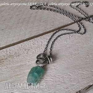 ręcznie wykonane naszyjniki na surowo naszyjnik ze szkła antycznego i srebra