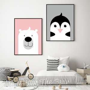zestaw plakatów dla dzieci miś i pingwin a4, miś, pingwin, pudrowy, róż, plakaty