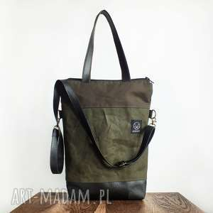 hand-made na ramię torba na ramię double canvas khaki vegan