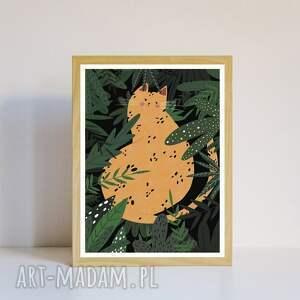 plakat kocisko a3, z kotem, dżungla, roślinny, motyw roślin, tygrysem