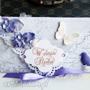 kopertówka z okazji ślubu- wrzosowy poranek - ślub, wesele, kartka