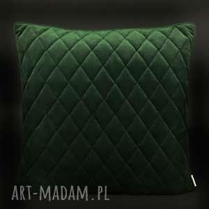 Poduszka velvet romby butelkowa zieleń 45x45cm poduszki majunto