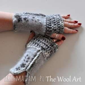 rękawiczki mitenki - rękawiczki, mitenki, na dłonie, walentynki, wełniane