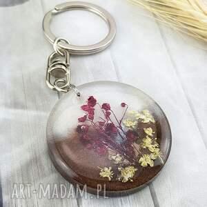 mela art 1245/mela - brelok do kluczy z żywicy, kwiaty, koło, brelok