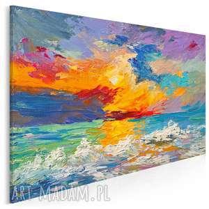 obraz na płótnie - abstrakcja morze fale kolorowy 120x80 cm 89101