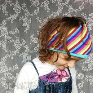 dla dziecka opaska wiosenna w paski dziewczynki handmade, opaska