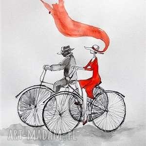 praca akwarelą i piórkiem w stylu vintage para na rowerze artystki plastyka adriany