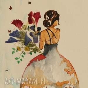 dama z bukietem - mini akwarela suszonymi kwiatami, w ramie, suszone kwiaty