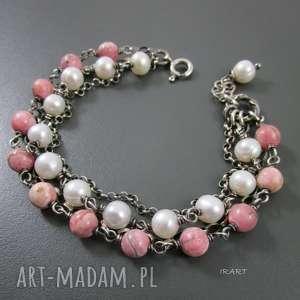 subtelna z rodochrozytem, srebro, bransoletka, perła, rodochrozyt