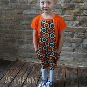 Tunika orange gwiazdki Kids, dziewczęca, modna, stylowa, bawełniana, wygodna